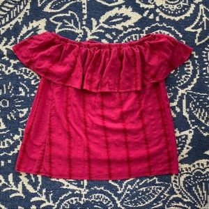 Style & co faded red striped off the shoulder top